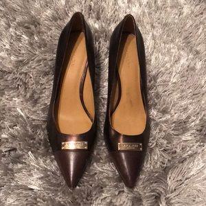 Coach Pointy Toe Bronze Heels